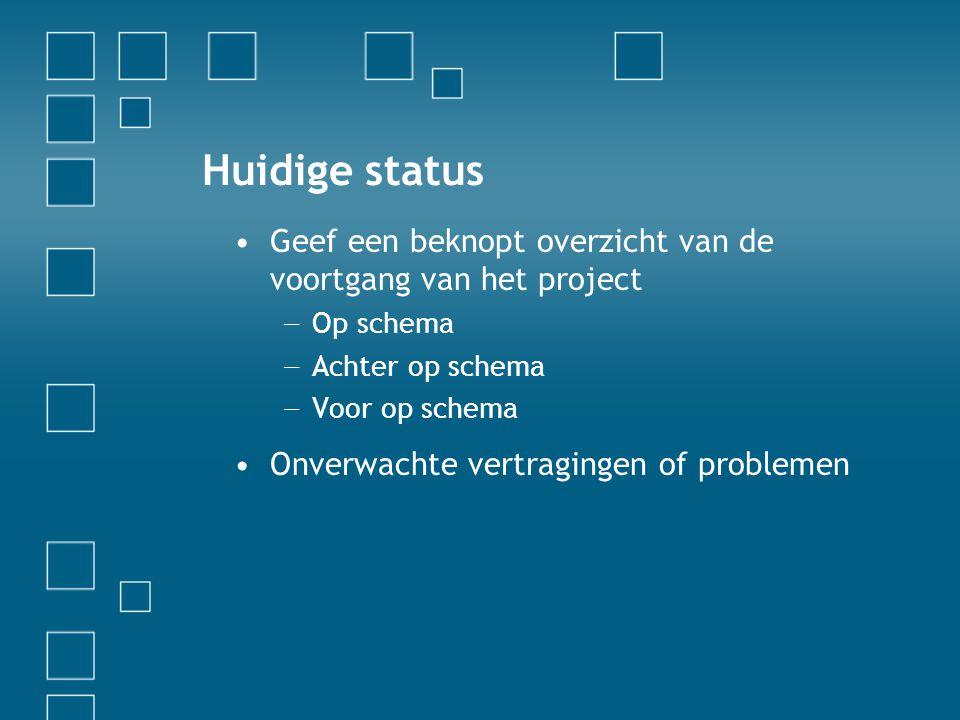 Huidige status Geef een beknopt overzicht van de voortgang van het project. Op schema. Achter op schema.