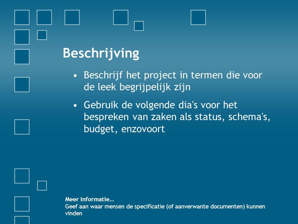 Beschrijving Beschrijf het project in termen die voor de leek begrijpelijk zijn.