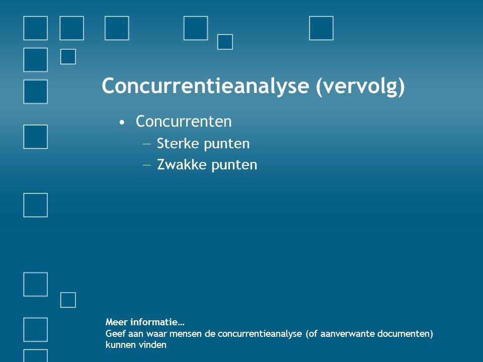 Concurrentieanalyse (vervolg)