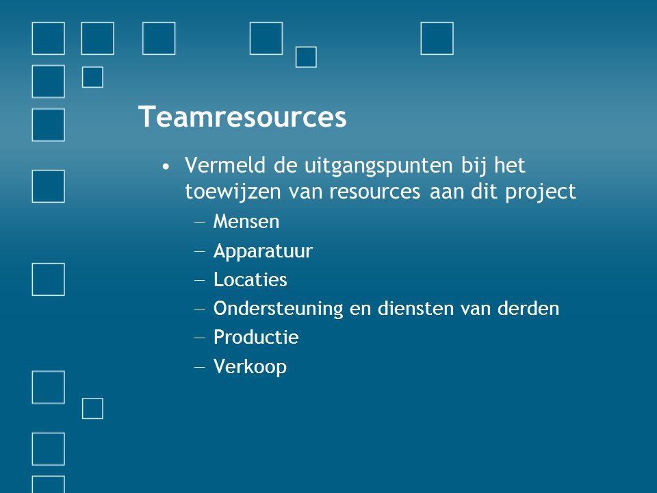 Teamresources Vermeld de uitgangspunten bij het toewijzen van resources aan dit project. Mensen. Apparatuur.