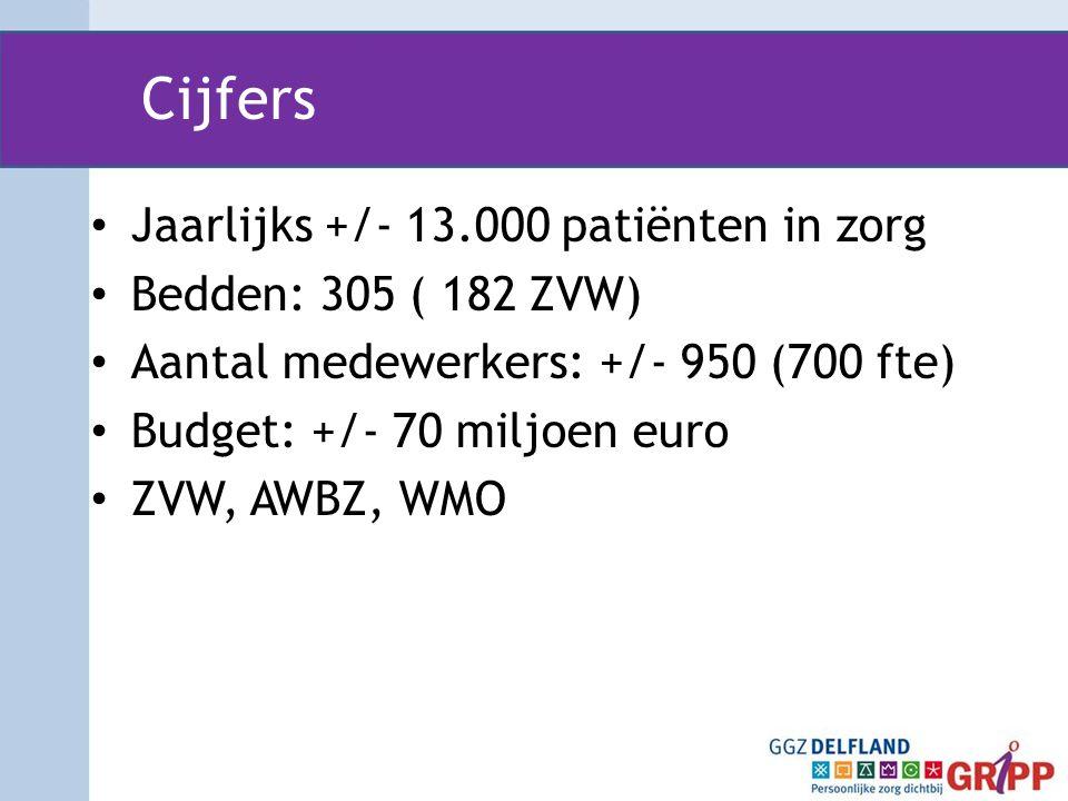 Cijfers Jaarlijks +/- 13.000 patiënten in zorg Bedden: 305 ( 182 ZVW)