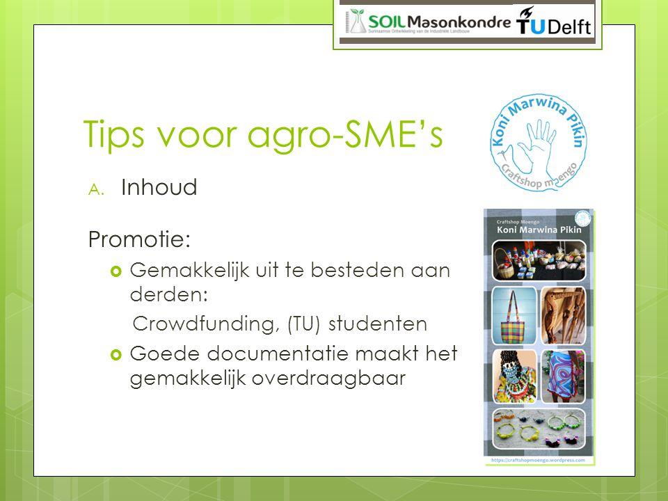 Tips voor agro-SME's Inhoud Promotie: