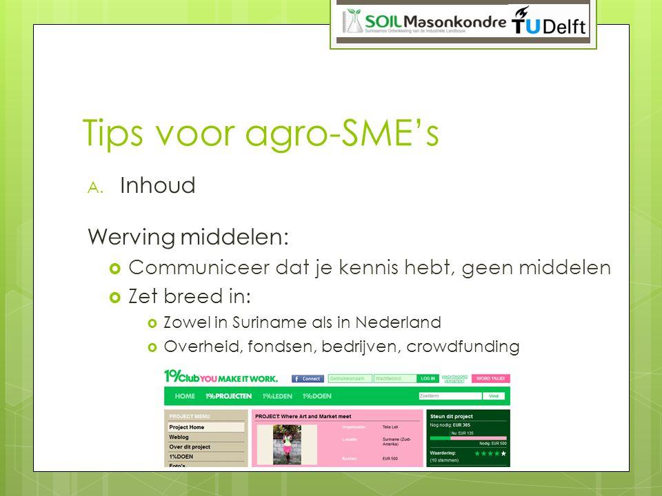 Tips voor agro-SME's Inhoud Werving middelen: