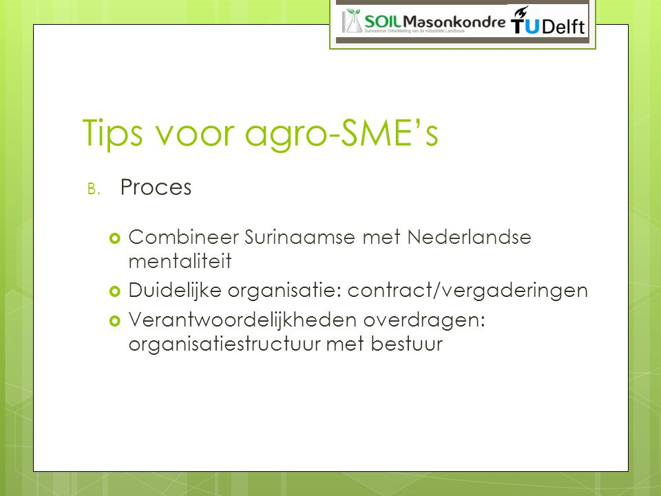 Tips voor agro-SME's Proces