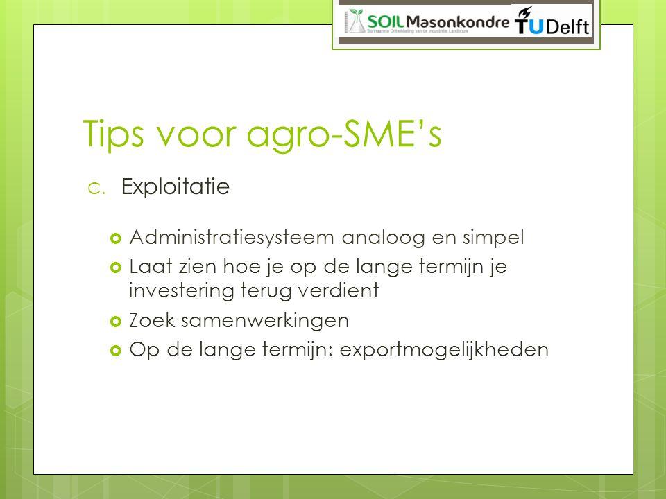 Tips voor agro-SME's Exploitatie