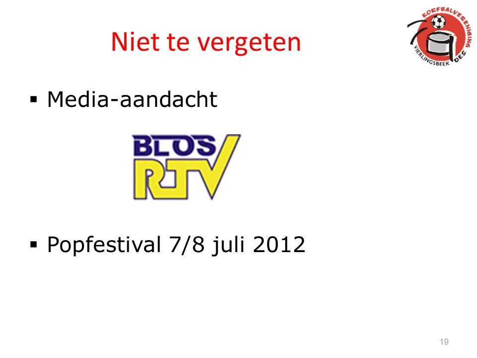 Niet te vergeten Media-aandacht Popfestival 7/8 juli 2012