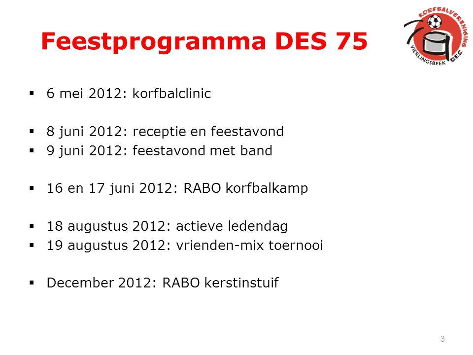 Feestprogramma DES 75 6 mei 2012: korfbalclinic