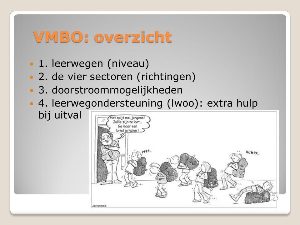 VMBO: overzicht 1. leerwegen (niveau) 2. de vier sectoren (richtingen)