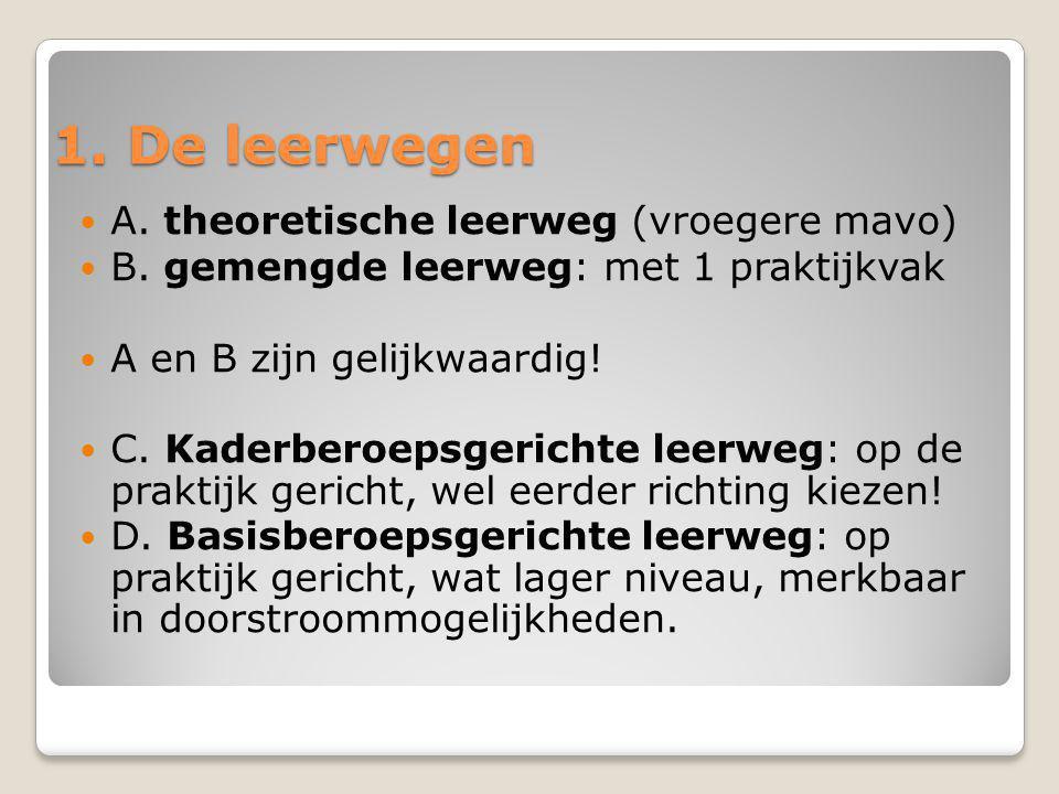 1. De leerwegen A. theoretische leerweg (vroegere mavo)