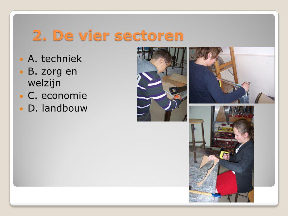 2. De vier sectoren A. techniek B. zorg en welzijn C. economie