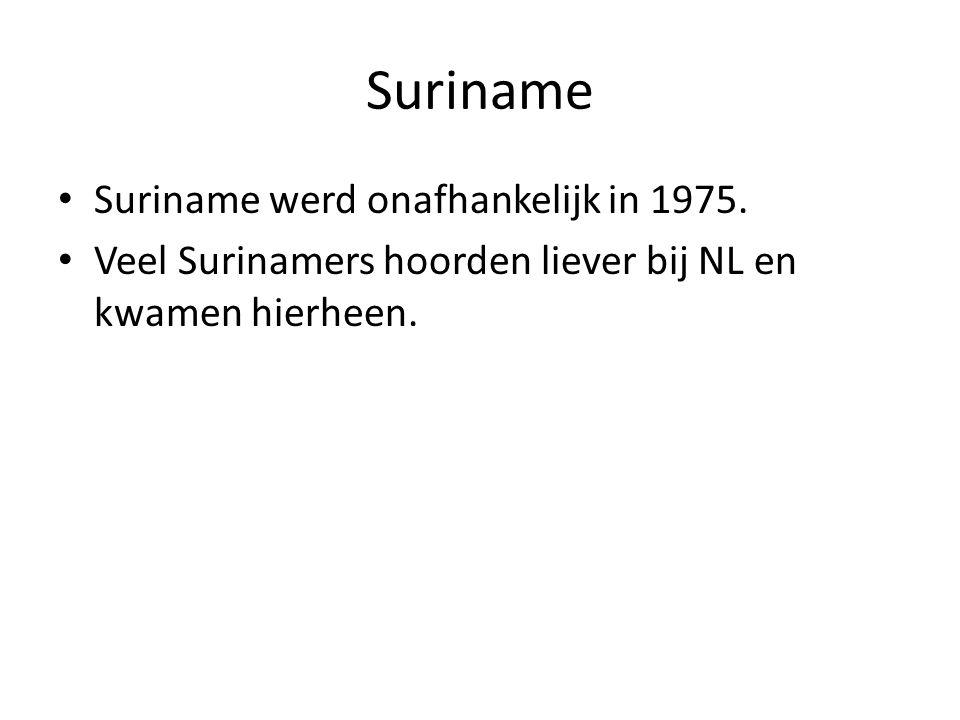 Suriname Suriname werd onafhankelijk in 1975.