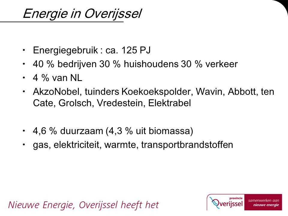 Energie in Overijssel Energiegebruik : ca. 125 PJ