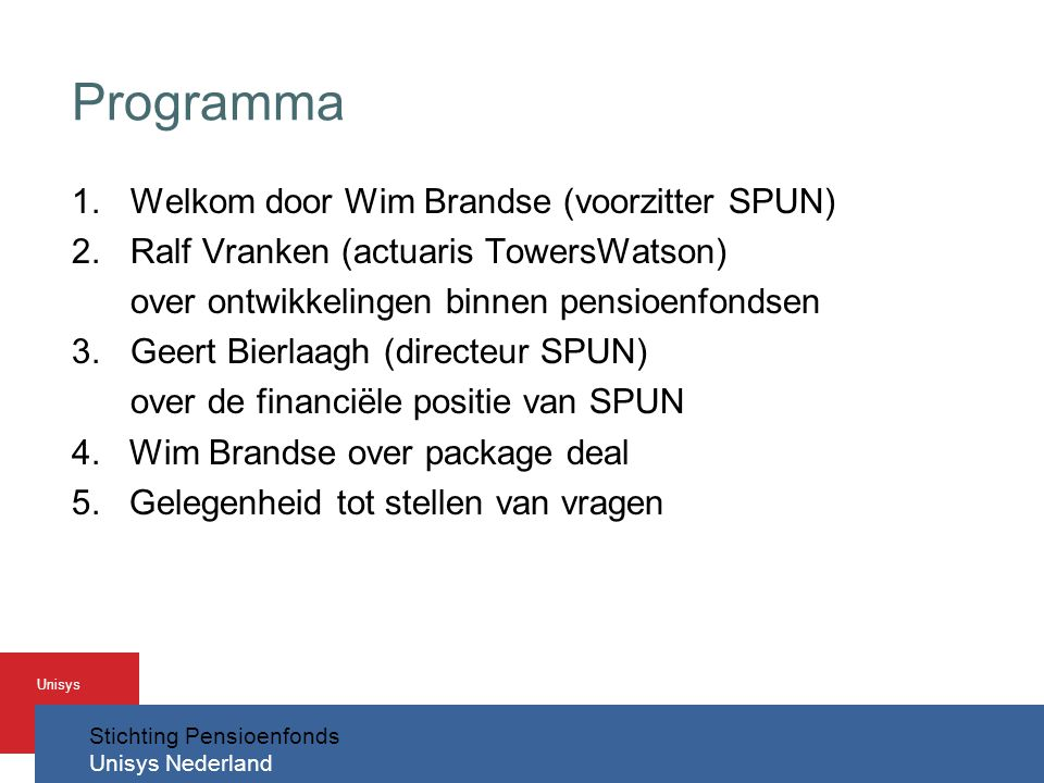 Programma Welkom door Wim Brandse (voorzitter SPUN)