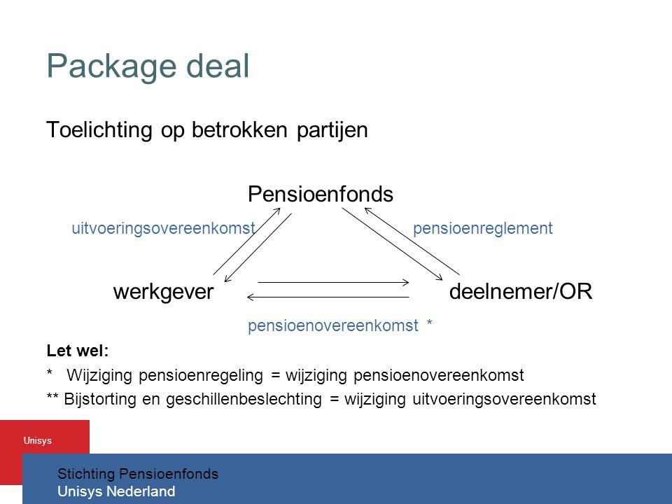 Package deal Toelichting op betrokken partijen Pensioenfonds