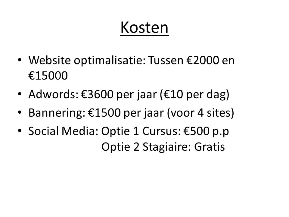 Kosten Website optimalisatie: Tussen €2000 en €15000