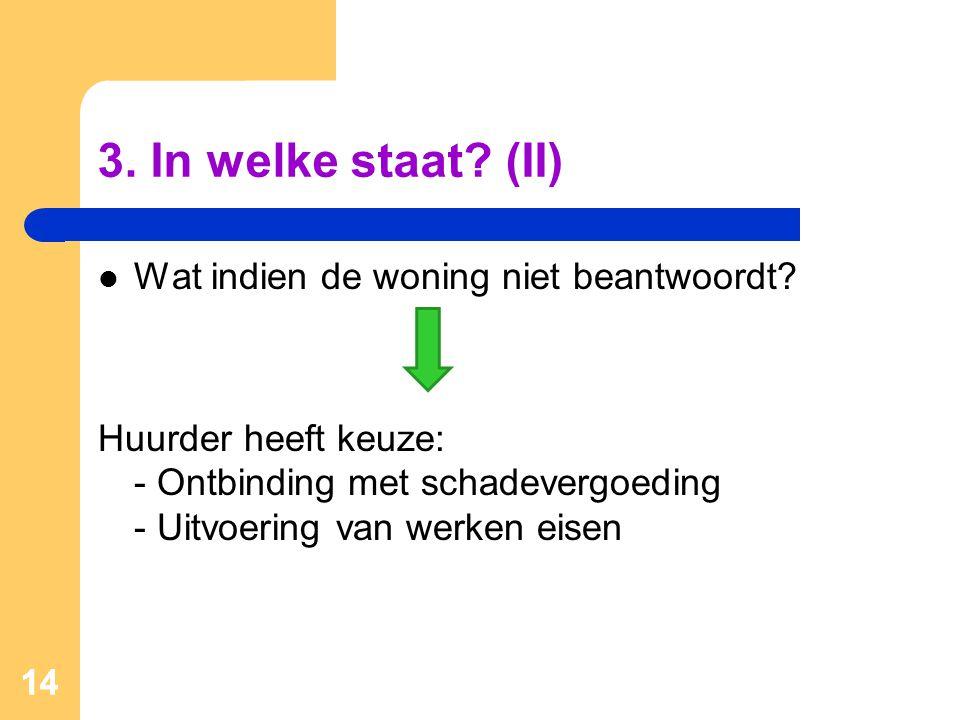 3. In welke staat (II) Wat indien de woning niet beantwoordt