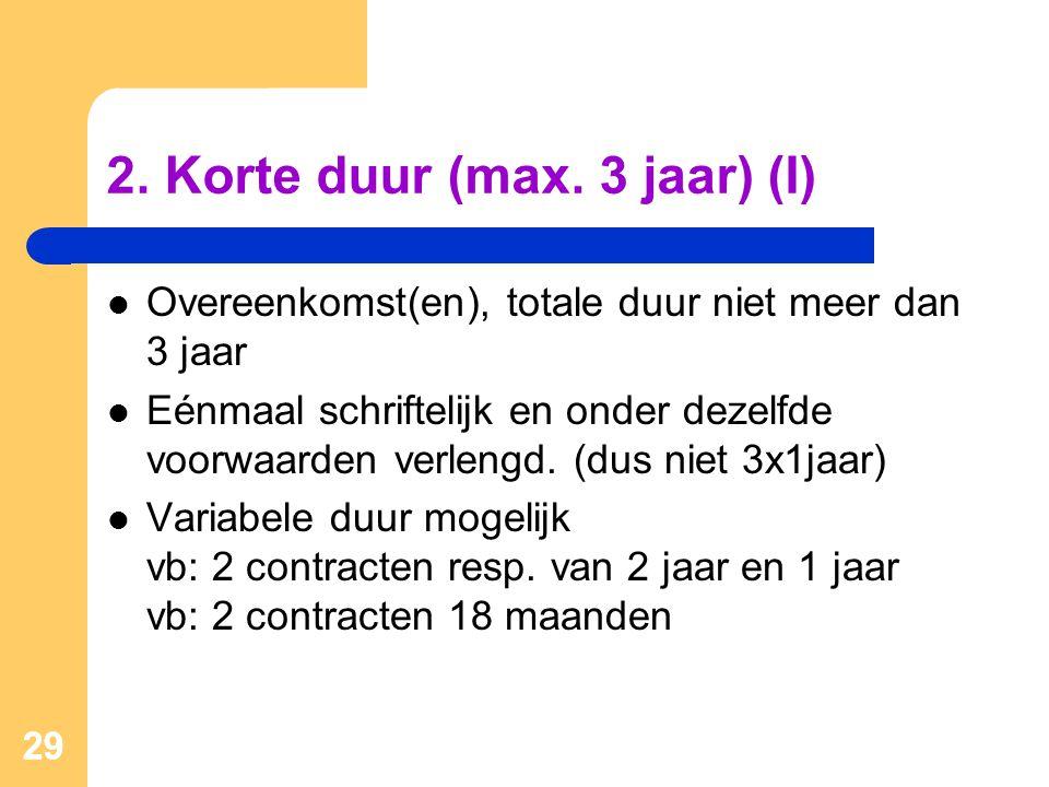 2. Korte duur (max. 3 jaar) (I)