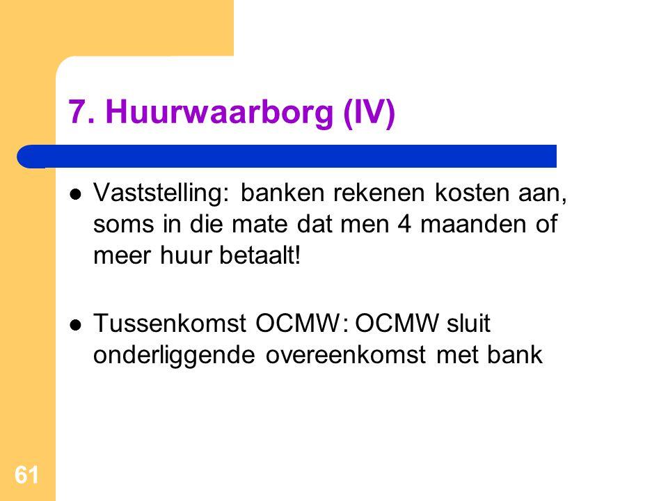 7. Huurwaarborg (IV) Vaststelling: banken rekenen kosten aan, soms in die mate dat men 4 maanden of meer huur betaalt!