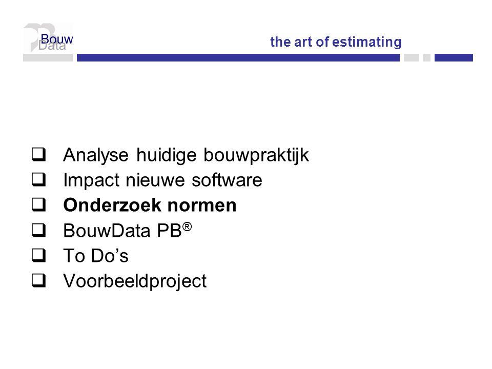 Analyse huidige bouwpraktijk Impact nieuwe software Onderzoek normen