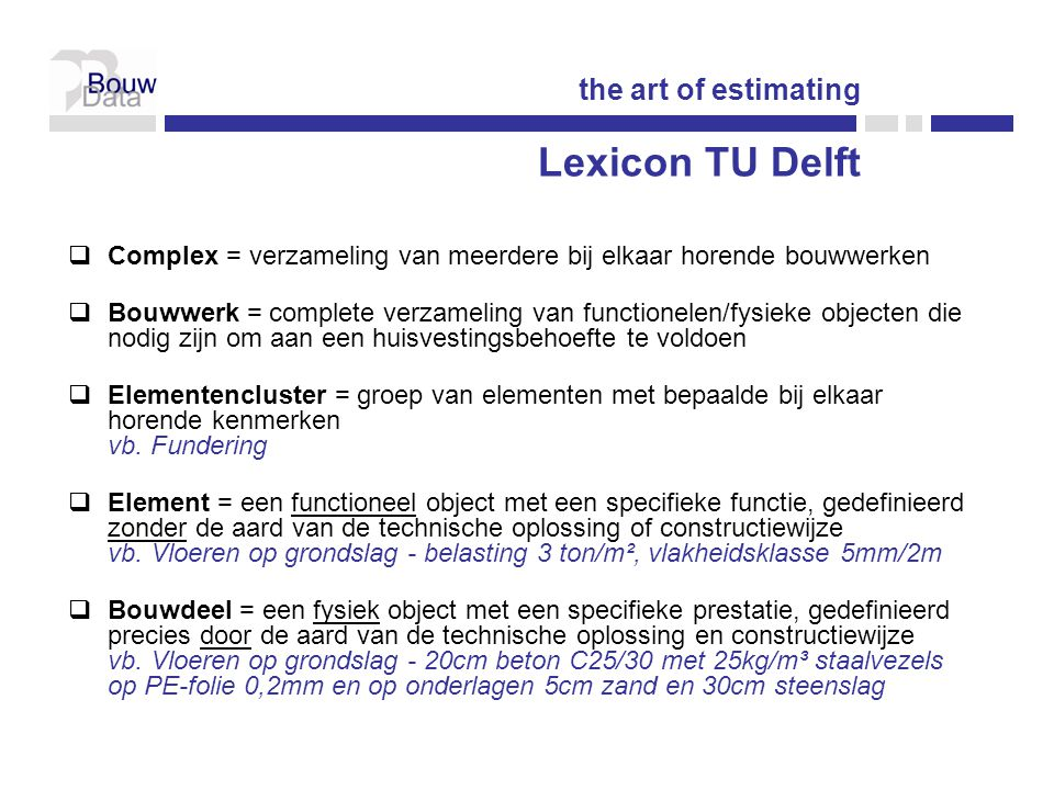 Lexicon TU Delft the art of estimating