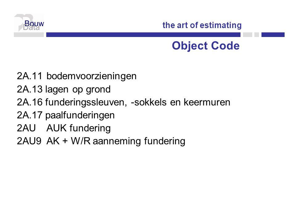 Object Code 2A.11 bodemvoorzieningen 2A.13 lagen op grond
