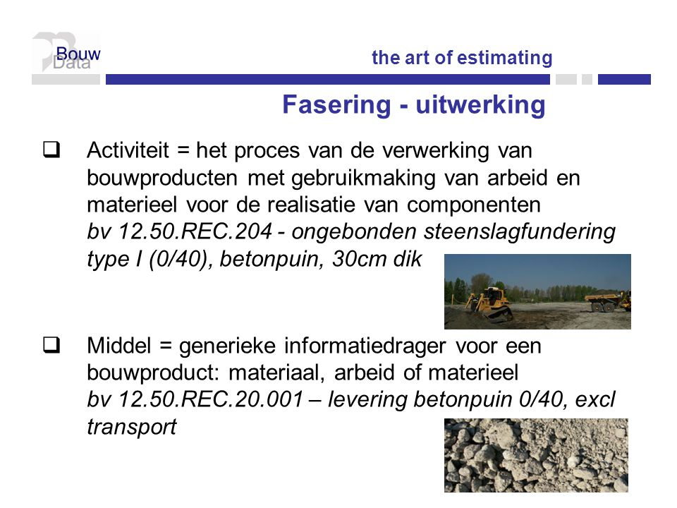 the art of estimating Fasering - uitwerking.