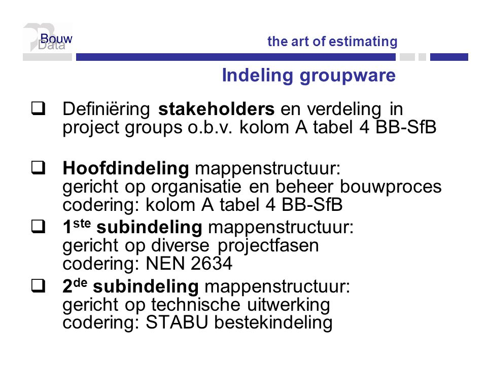 the art of estimating Indeling groupware. Definiëring stakeholders en verdeling in project groups o.b.v. kolom A tabel 4 BB-SfB.