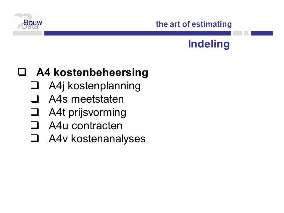 Indeling A4 kostenbeheersing A4j kostenplanning A4s meetstaten