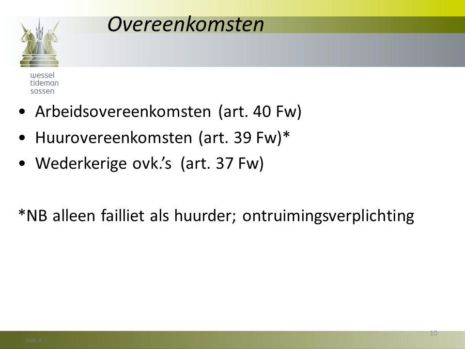 Overeenkomsten Arbeidsovereenkomsten (art. 40 Fw)