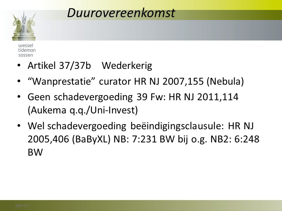 Duurovereenkomst Artikel 37/37b Wederkerig