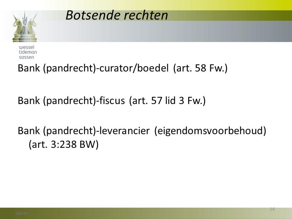 Botsende rechten Bank (pandrecht)-curator/boedel (art. 58 Fw.)