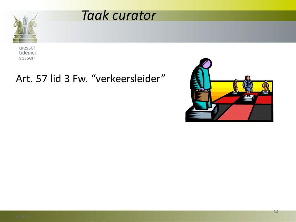 Taak curator Art. 57 lid 3 Fw. verkeersleider