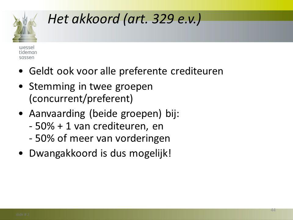 Het akkoord (art. 329 e.v.) Geldt ook voor alle preferente crediteuren