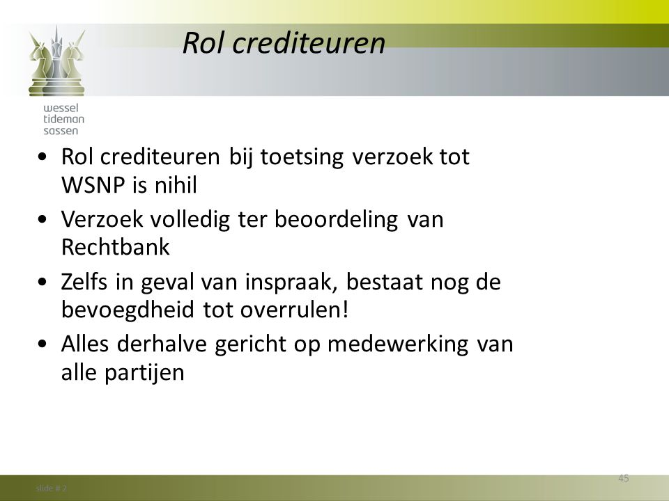 Rol crediteuren Rol crediteuren bij toetsing verzoek tot WSNP is nihil