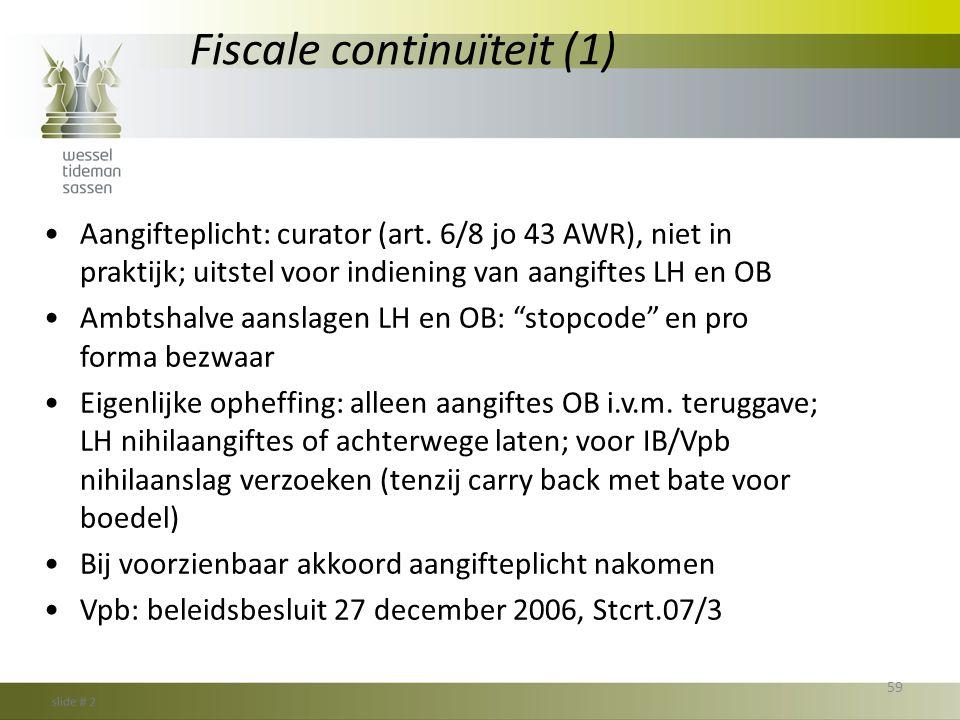 Fiscale continuïteit (1)