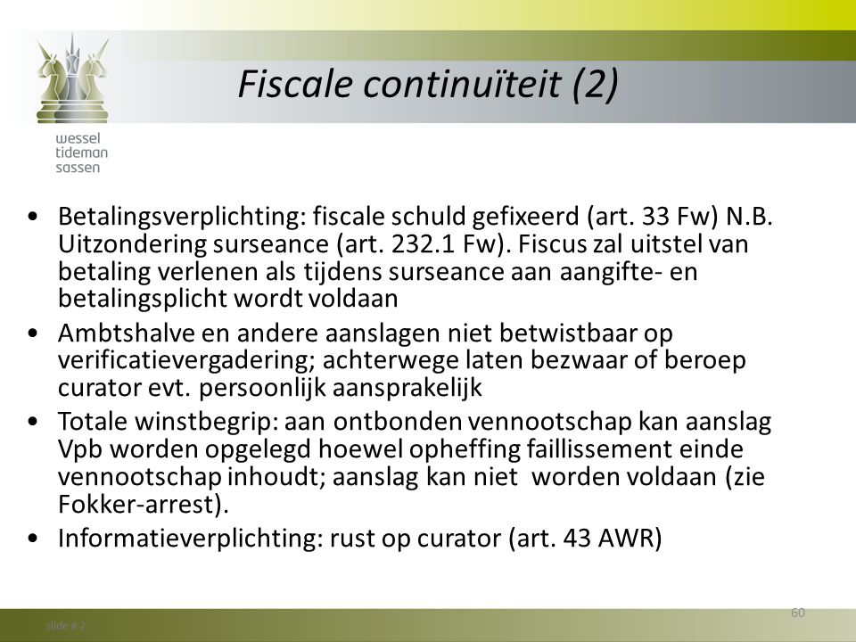 Fiscale continuïteit (2)