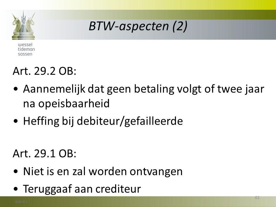 BTW-aspecten (2) Art. 29.2 OB: