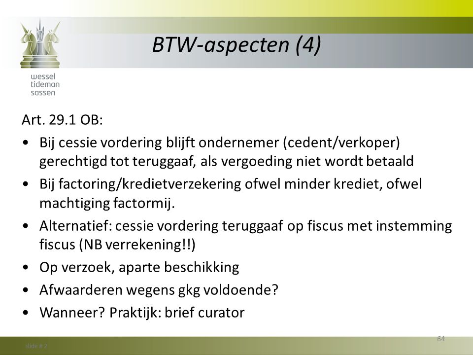 BTW-aspecten (4) Art. 29.1 OB: