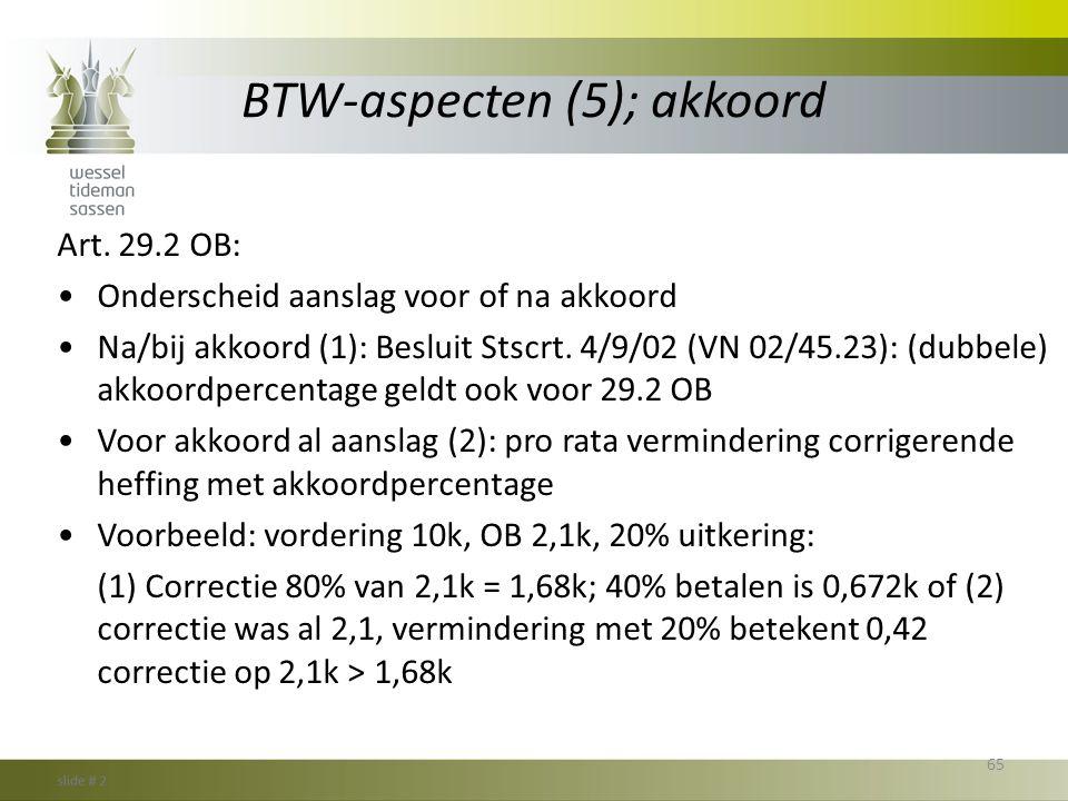 BTW-aspecten (5); akkoord