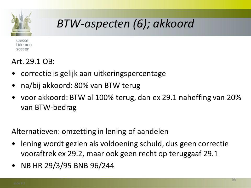 BTW-aspecten (6); akkoord