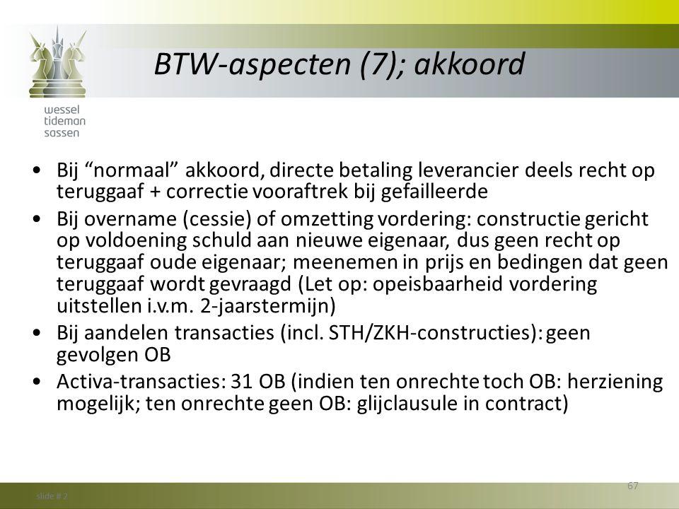 BTW-aspecten (7); akkoord
