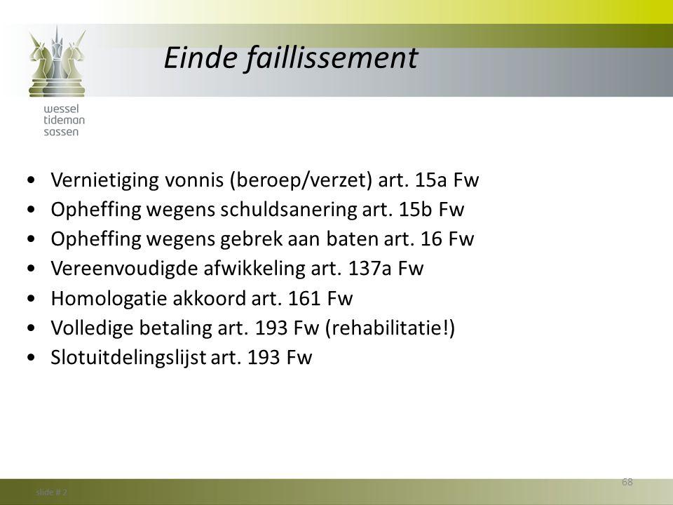 Einde faillissement Vernietiging vonnis (beroep/verzet) art. 15a Fw