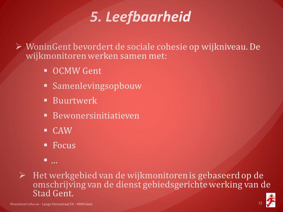 5. Leefbaarheid WoninGent bevordert de sociale cohesie op wijkniveau. De wijkmonitoren werken samen met:
