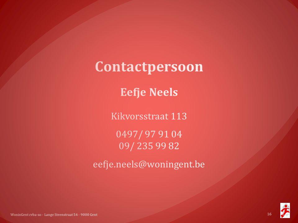 Contactpersoon Eefje Neels Kikvorsstraat 113 0497/ 97 91 04