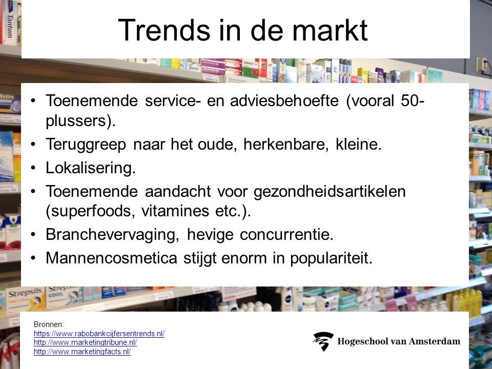 Trends in de markt Toenemende service- en adviesbehoefte (vooral 50-plussers). Teruggreep naar het oude, herkenbare, kleine.