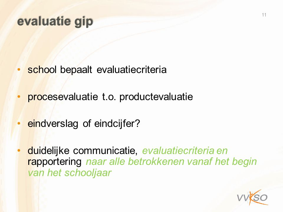 evaluatie gip school bepaalt evaluatiecriteria