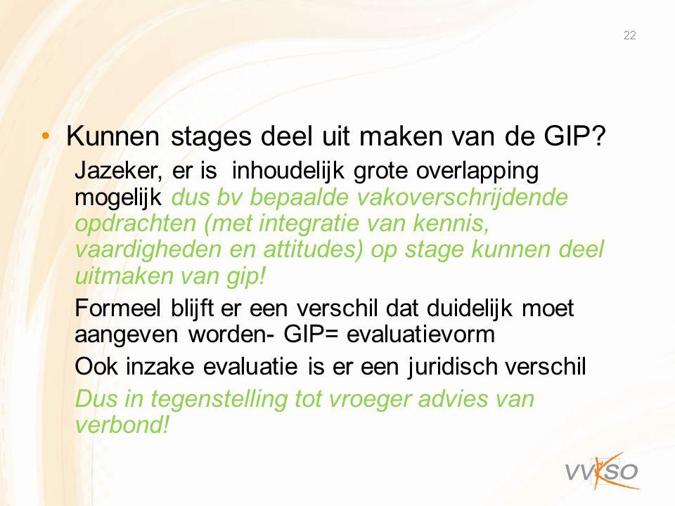 Kunnen stages deel uit maken van de GIP