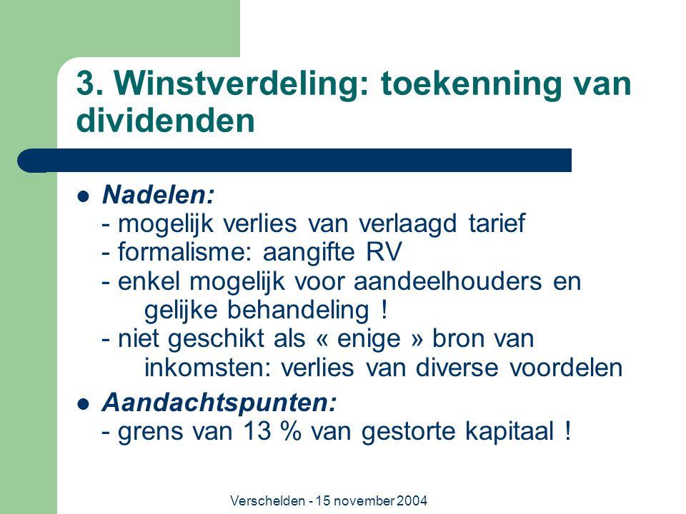 3. Winstverdeling: toekenning van dividenden