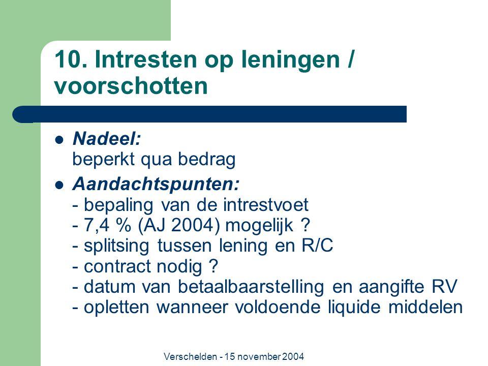 10. Intresten op leningen / voorschotten