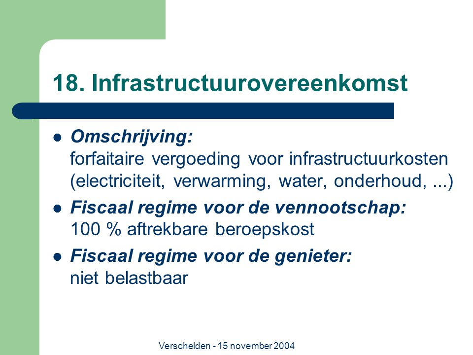 18. Infrastructuurovereenkomst